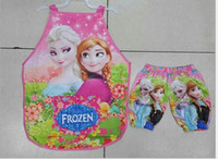 Wholesale Frozen ELSA ANNA Printe Kids Childrens Cartoon Cooking Art Painting Smock Apron Set Sleeveless Aprons Oversleeves sofia spoder dora