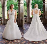 bridal lace applique - Roz La Kelin Plus size Wedding Dresses Ivory Lace Vintage Beach Bridal Gown with Cap Sleeve A Line V Neck Pleated Sweep train