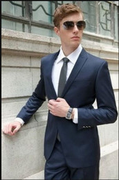 Wholesale The latest men s clothing of elegant dark blue one button lapels cultivate one s morality man festival dress formal suit