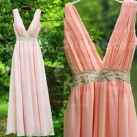 Wholesale Modest Vestido Deep V neck Long Evening Gown Real Picture Beaded Light Pink Chiffon Cut Out Prom Dresses Sexy Part Gown Dhyz08