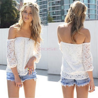 Cheap Women's Spring Sexy Lace Clothing Off Shoulder Blouse Chiffon Casual Blusas Fashion Trendy Hollow Yarn T-Shirt For Women SV001984