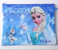 Wholesale 2014 new FROZEN Romance snow treasure adventure Snow Queen A4 Large pockets file bags FrozenA4 double layer file bags Frozen A4 paper folder