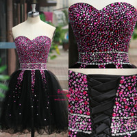 formal cocktail dresses - 2014 Real Images cocktail dresses sexy black sweetheart short prom gowns with sequin beads lace up back organza party gowns formal SU04