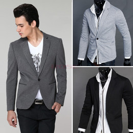 Wholesale 2014 Fashion Office Men New Stylish Men s Casual Slim fit One Button Suit Pop Blazer Coat Jacket M XXL