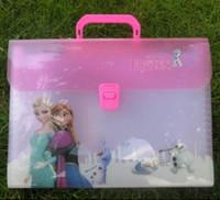 Wholesale 2014 new FROZEN Romance snow treasure adventure Snow Queen portable A4 file bags Frozen A4 several layers file bags A4 paper folder