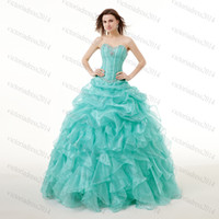 masquerade ball gowns - Blue Sweet Dresses Quinceanera Dresses Bead Crystal Cascading Ruffle Organza Ball Gown Dresses Girl Party Dresses Masquerade GownsZC