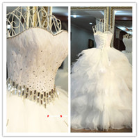 Wholesale 2015 Hot Sale Sexy Ball Gown Mini Skirt Strapless Open Back Sleeveless Custom Made Rhinestone Applique Wedding Dresses Lace Bridesmaid dress