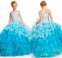 2016 года Crystal Ball платье девушки Pageant платья площади шеи Асимметричный ремни из бисера Слои оборками Принцесса Формальные партии мантий PA1525