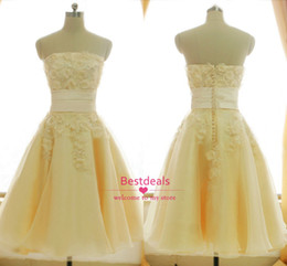 Wholesale 2014 Light Yellow Strapless Lace Homecoming Dresses Applique Beaded Short Prom Dress Evening Gowns Cocktail Dresses Real Images SU35