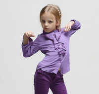 Wholesale Monsoon Spring Autumn Girls Shirts Children Ruff Long Sleeve Pure Cotton Blouse Childs Pleated Shirts Kid Girls Clothing Purple White M1368