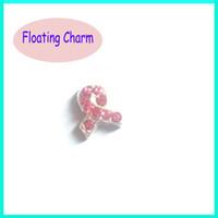 Wholesale 20pcs Metal Rhinestone Crystal Pink Ribbon Floating Charm Origami Owl Charm For Glass Locket