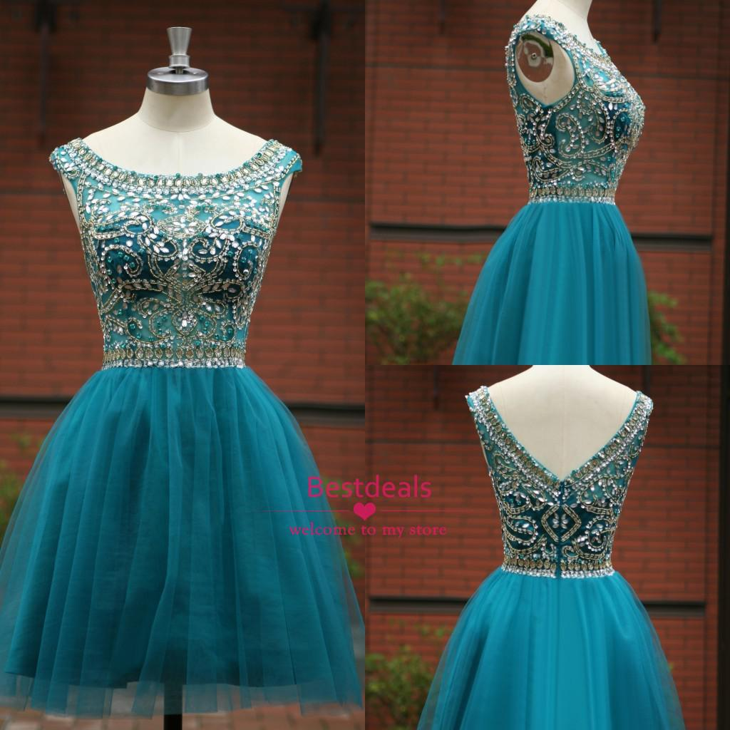 Buy 2014 Hunter Short Crystal Prom Dresses Scoop Backless Beads Sequins Pleats Tulle Homecoming Graduation Gowns 2015 Dress SU05