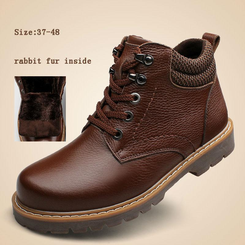 Hot Sale Men Winter Boots Men'S Genuine Leather Higt Top Plush ...