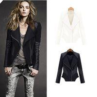 Wholesale 2014 Winter Spring Jackets Coat Hot Fashion Women PU Fur Jacket Plus Size Zipper Faux Leather Jacket Suit Ladies Long Sleeve Trench Coat W40