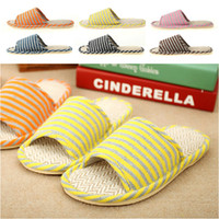 Cheap Wholesale-New 2014 summer Slippers smile linen slippers shoes for men and women couple home indoor floor slippers bottom family slippers