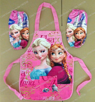 Wholesale New Frozen Frozen Aprons Sanitary Waterproof aprons Frozen Paiting Children Cover Up with sleeves cover