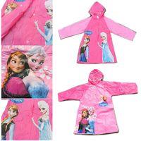 Wholesale Frozen Raincoat princess Elsa Anna Frozen Rain Gear Cartoon Girls Raincoat for ages Student Rainwear Frozen