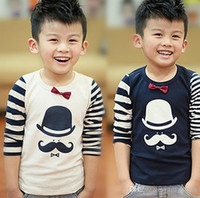 T-shirt - 2014 Autumn new style children s long sleeve t shirt boys stripe sleeve little hat beard casual t shirts kids clothing SM488