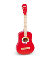 Wholesale wooden Kids Guitar High Quality Red Baby Iron Strings Wooden Guitar toy Musical Instrument Toy Educational HT150