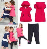 Wholesale 5 sets Children Girls short sleeve Hoodies pants suits kids baby fashion Boys T shirts shorts Sports shampooers jogging tracksuits
