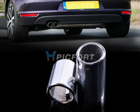Cheap Tracking #2PCS CHROME EXHAUST TAIL MUFFLER TIP PIPE for VW Golf variant Jetta Sport wagon 2010 2011 2012-CA00743