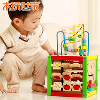 Cheap Wooden play family early childhood educational toys 1-3 years old baby tuba children around the bead intelligence treasure chest