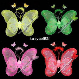 Fashion Frozen Decoration Hallowen Butterfly Fairy Wings Magic Wand for Children 6 Colors Mix Order Kids Children's Day Gift Set 2017 Hot