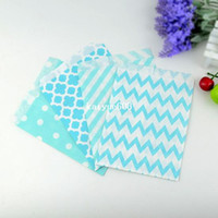 Wholesale frozen party quot light blue chevron polka dot stripe quatrefoil candy treat favor goodie bag for baby shower party