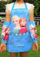 Wholesale girls Frozen Apron babycooking apron baby princess Elsa Anna Waterproof apron with oversleeve