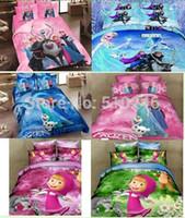 Cheap new free shipping 100%cotton cartoon frozen Elsa anna princess girl pink blue queen bedclothes bedding set quilt cover set