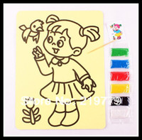 Wholesale 20pcs cm K Kids Colored Sand Painting Picture Sand art Kits Drawing Card sticker colors sand
