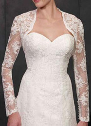 Wholesale 2015 Long Sleeves Bridal Jackets Sexy Sheer Simple Dotted Tulle with Lace appliques Cheap Wedding Bolero White Ivory Gorgeous See through