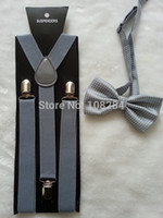 Cheap Wholesale-Unisex Clip-on Braces Elastic Y-back Suspender and bow ties set