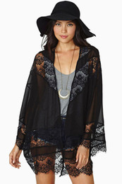Women's Black Sexy Hallow Out lace Cardigan Autumn Panelled loose Kimono Poncho Lady jackets