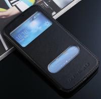 al por mayor caja de cuero i9152-Caso de cuero de lujo de la PU para Samsung Galaxy Mega 5.8 I9150 I9152 con dos punto de vista cubierta abatible ventana