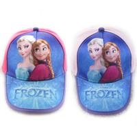 Wholesale Hot sale new Kawaii Frozen Anna Elsa queen cartoon animation sun hat baseball caps for baby kids gif fot children boys girls RED