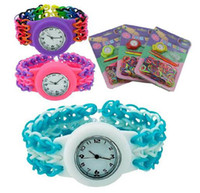 Wholesale DIY Knitting colorful round watch bracelet Loom Rubber Bands Braided Kit Children loom bands Watch Toy Watch Bands Clips Hook