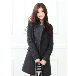 Wholesale Winter Coat Women Women Parka Long Sleeve Overcoat Stand Collar Double Breasted Fashion Wool Coat Woolen Blend Casual Trench Coat