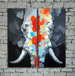 Wholesale Pictures Decor Hand painted High Q Modern Home Decoration Wall Art Elephant Oil Painting On Canvas set framed B