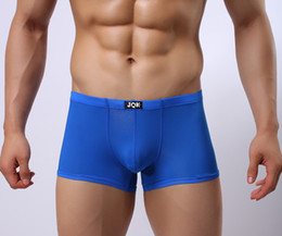 Wholesale 8 Colors Men s Underwear sexy men Ice silk Stretch boxer briefs Slim Solid color Underpants High quality can choose the color size