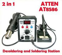 Cheap Free shipping ATTEN AT8586 220V 2 in 1 BGA Rework Station Hot Air Soldering Station SMD Desoldering Station AT8586 Solder iron