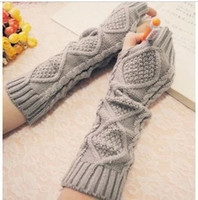 Wholesale Knitted Long Arm Fingerless Gloves New Stylish Lengthen Winter Warm Ink Color Gloves Arm Mittens For Lady DW063