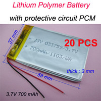Cheap 20 pcs 3.7V 700 mAh Rechargeable Polymer Lithium battery for GPS Bluetooth Headset Mp3 Mp4 Mobiles Backup power Supply 033759
