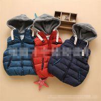 knit wear - Baby Boys Autumn Sleeveless Ruffle Knit Vest Kids Thicken Hoodies Waistcoat Pure Color Autumn Wear Winter Clothing SZ0358