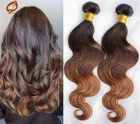 Cheap Brazilian Virgin Hair 3 tone Ombre Hair Extensions black and brown ombre hair 3 4 Bundles 1B4 30 Human remy Hair Curly Weave