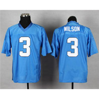 Cheap #3 Russell Wilsons Light Blue Elite Football Jerseys 2014 New Arrival Champions Football Uniforms Cheap American Football Wears