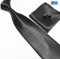 Wholesale New solid ties Classic JACQUARD WOVEN Silk Men s Tie Cufflink Hanky Set Necktie colors WH884H