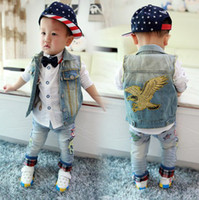 korea kids style - Korea Style Cowboy Denim Vest Baby Boys Embroidery Eagle Hawk Waistcoat Kids Sleeveless Coat Lapel Autumn Wear SZ0363
