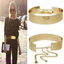 Wholesale Women Punk Full Metal Mirror Waist Belt Metallic Gold Plate Wide Cummerbunds With Chains