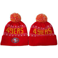 49ers - Red Beanies of ers Cheap Football Caps Fashion Outdoor Headwear Cool Autumn Beanie Hats Womens Skull Cap Mens Beanies with Pom New Design